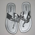 Women's Silver T-Strap Sandals Small (5-6)