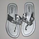 Women's Silver T-Strap Sandals Large (9-10)