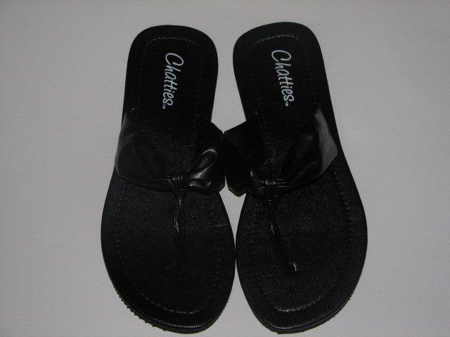 Women's Black T-Strap Sandals Large (9-10)
