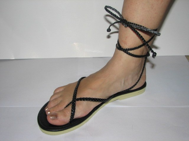 Unique Black Women's Brand New Braided Ankle Wrap Up Sandals Size 9-10 (Large)