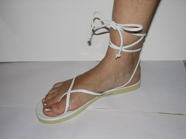Unique White Women's Brand New Braided Ankle Wrap Up Sandals Size 9-10 (Large)