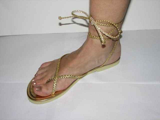 Unique Gold Women's Brand New Braided Ankle Wrap Up Sandals Size 9-10 (Large)