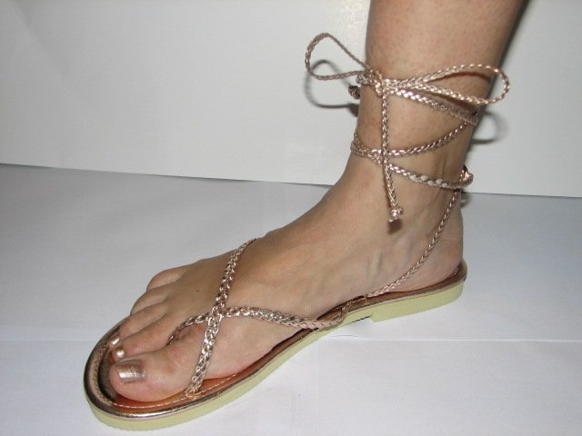 Unique Rose Gold Women's Brand New Braided Ankle Wrap Up Sandals Size 9-10 (Large)