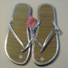Women's Silver Bamboo Flip Flops Size 9