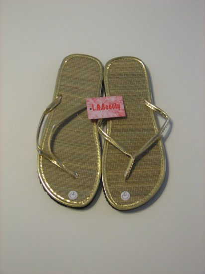 Women's Gold Bamboo Flip Flops Size 6