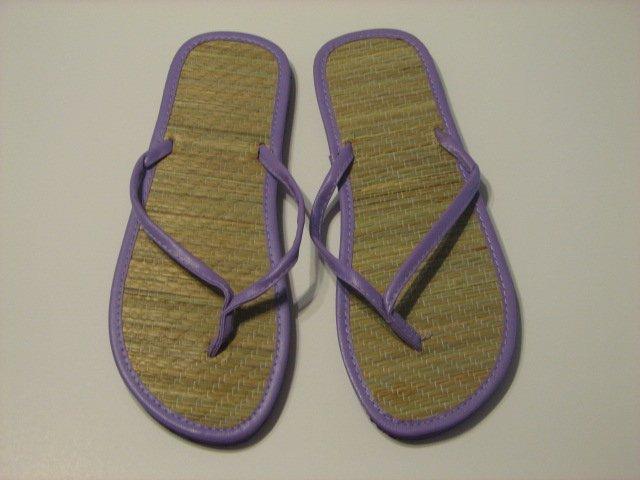 Women's Purple Bamboo Flip Flops Size 10