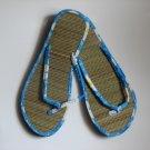 Women's Flip Flops Printed Blue Bamboo Size 9