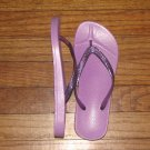 Women's Flip Flops Purple Comfort with Glitter Thong Size 9-10