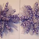 NEW 2 KORKER SHEER PURPLE PLAID & WHITE GIRLS HAIR BOWS