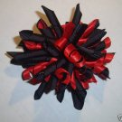 New Set of 2 Girls Korker RED & BLACK  HAIR BOWS CLIPS