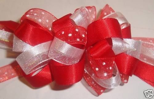 NEW 2 MATCHING RED, WHITE LOOPY GIRLS HAIR BOWS CLIPS