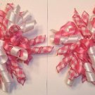NEW 2 KORKER HOT PINK PLAID & WHITE GIRLS HAIR BOWS WOW