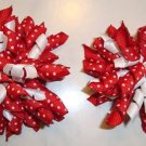 New Set of 2 Girls Korker RED WHITE  HAIR BOWS CLIPS