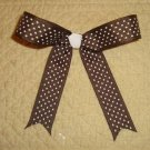 "NEW 5"" GIRLS BOUTIQUE BROWN CHEERLEADER PONYO HAIR BOW"