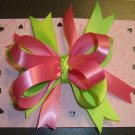 NEW HOT PINK & LIME GREEN LOOPY KORKER HAIR BOW RIBBONS
