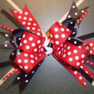 "NEW 5"" GIRLS LOOPY RED &  BLACK SPIKE HAIR BOW"