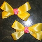 2 BABY BOUTIQUE SPRING YELLOW & PINK GIRLS HAIR BOWS