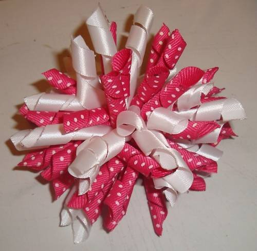 New Set of 2 Girls Korker BRIGHT PINK DOTTED Hair Bows