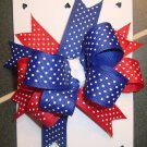 NEW LARGE BOUTIQUE RED WHITE BLUE GIRLS HAIR BOW RIBBON