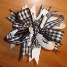 NEW LARGE BOUTIQUE BLACK PLAID KORKER GIRLS HAIR BOW