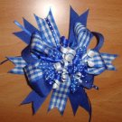 NEW LARGE BOUTIQUE BLUE PLAID KORKER GIRLS HAIR BOW
