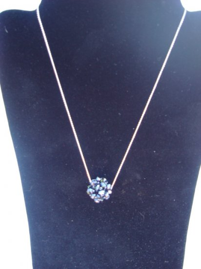 "Swarovski Crystal Necklace on Sterling Silver 18"" Chain Black"