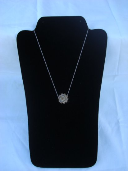 "Gold Swarovski Crystal Necklace on 18"" Sterling Silver Chain"