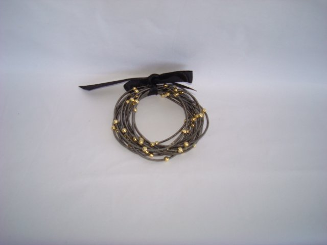 Bracelet-Charcoal Color with Gold Balls