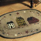 Primitive Salt Box Village Oval Braided Accent Rug---NEW