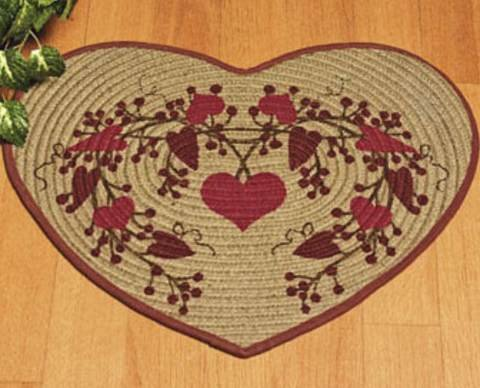 Primitive Heart Shaped Braided Berry Rug Shabby Chic---NEW