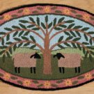 Primitive Country SHEEP & WILLOW TREE Accent Rug---NEW