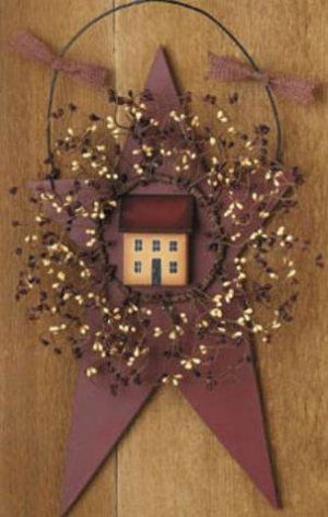 Primitive Country Barn Star Saltbox House Pip Berry Wreath
