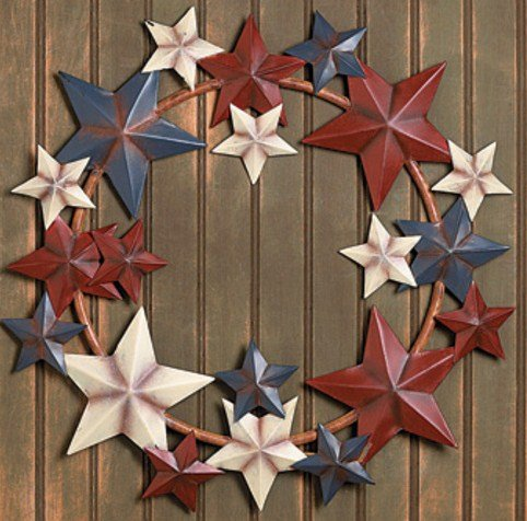 Primitive Country Americana Metal Barn Star Wreath