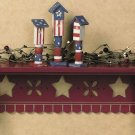 Primitive Country Americana Barn Red Wall Shelf Star Cutouts