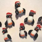 CHRISTMAS PENGUIN Lampwork Bead Lot Santa Hats 24