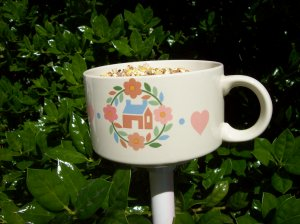 Teacup Bird Feeder or small planter