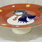 Handpainted Snowman Pedestal Cake Stand
