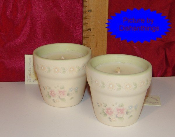 Pfaltzgraff TEA ROSE 2 Green Flowerpot Vanilla Candles