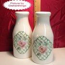 Pfaltzgraff GARDEN TRELLIS 2 Milk Bottles or Vases USA