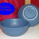 Pfaltzgraff Blue Basket Sculpted Berry Bowls 2 MINT USA