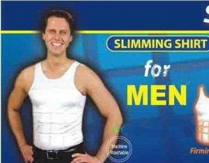 Mens Slimming Garment,  White,  Size Small, Slimming Compression Body Shaper,Slimming Shirt