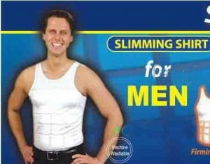 Mens Slimming garment, Slimming Shirt, White  Size XxLarge, Mens Compression Body Shaper,