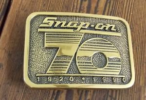 Collectible Snap On Tools Solid Brass Belt Buckle BTS 1990 USA Casual