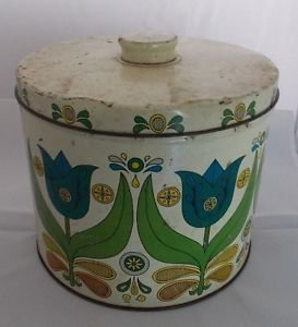 MID-CENTURY VINTAGE TIN BISQUICK CANISTER - TULIPS & BISQUICK RECIPES