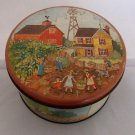 Collectible Vintage Round Tin Can Canister FARM BARN GARDEN COUNTRY