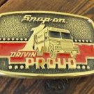 VINTAGE 1989 SNAP-ON TOOLS DRIVIN PROUD SOLID BRASS BELT BUCKLE BTS USA SSX1313