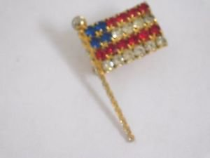 NICE RETRO VINTAGE AMERICAN FLAG LAPEL PIN RED, CLEAR & BLUE RHINESTONES -1 3/8""
