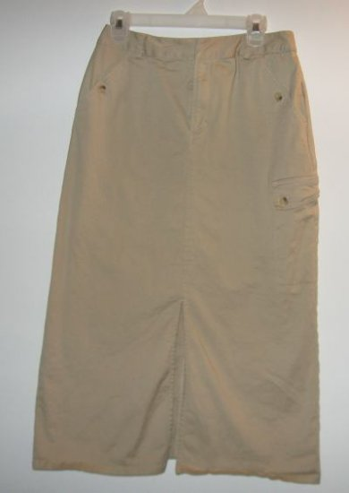 LIKE NEW Liz Claiborne Villager long khaki skirt sz 10