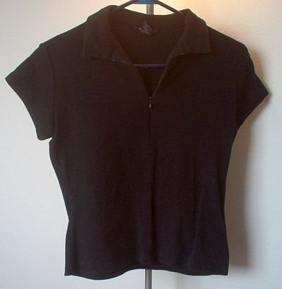 black EXPRESS collar t-shirt zipper excellent condition size large tee