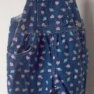 dark wash overalls with cute flowers and hearts design size 12 months